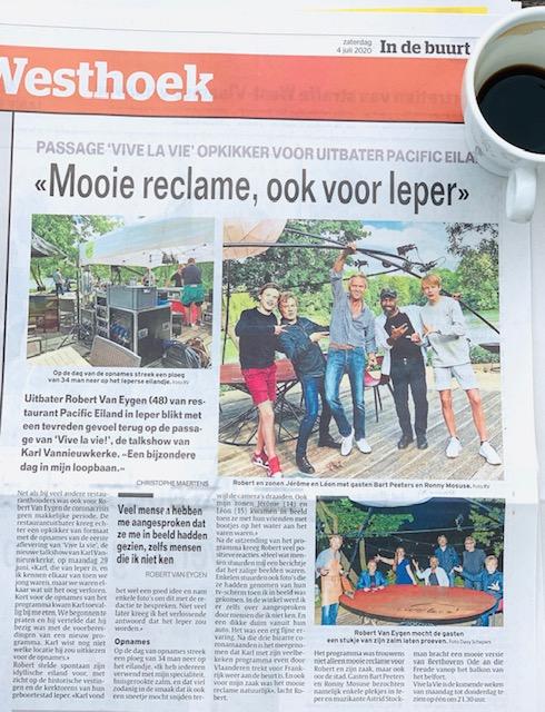 Pacific eiland in de krant Westhoek, Vive La Vie