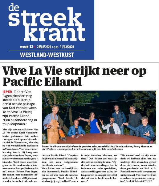 de Streek krant, vive la vie op het eilandje in Ieper